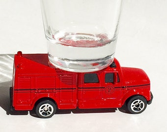the ORIGINAL Hot Shots Shot Glass, Red, Fire Truck, Equiptment Truck, Maisto Vehicle