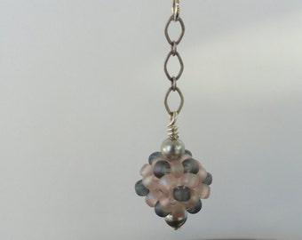 Pink and Gray beaded ball earrings, seed bead earrings, beaded earrings, long beaded earrings, dangle earrings, drop earrings, bead woven