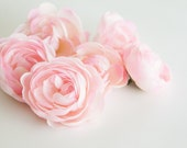 6 Small Ranunculus in Pink - 3 inches -artificial flower - Silk Artificial Flowers