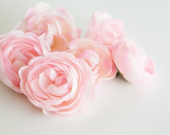 6 Small Ranunculus in Pink - 3 inches -artificial flower - Silk Artificial Flowers - ITEM 0450
