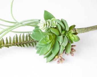 Fake Succulents - Artificial Succulent Boutonniere Mini Bouquet - Faux Succulent, Artificial Succulents - ITEM 0414