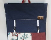 On My Way Navy Blue, Auburn and Floral Backpack with cotton webbing adjustable straps
