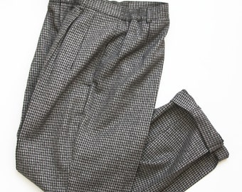 1980s High Waisted Black + Grey Checked Pant / Pleated Pants
