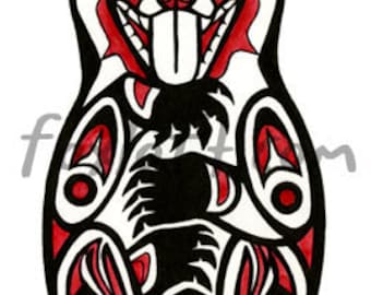 Life Bear Painting Print - Northwest Coast Native American Watercolor totem bears wall art picture shamanic traditional