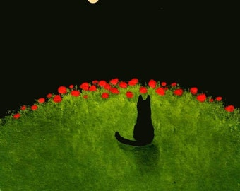 Black Cat  Outsider Folk Art LARGE print by Todd Young POPPY HILL