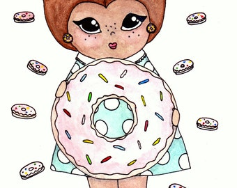 "Carrie Creampuff Illustration Print - 8.5""x11"" or 5""x7"""