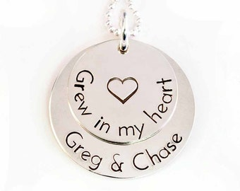Adoption Necklace, Grew in My Heart, Personalized Adoption Necklace, Sterling Silver Necklace,  Hand Stamped