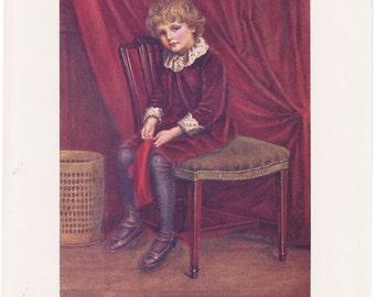 Vintage Kate Greenaway Book Plate Art Print - The Red Boy