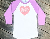 Mama Bear with Heart Purple Baseball TShirt with Pink Print - Gift for Mom, Family Photos, Expecting, Baby Shower Gift, Mother's Day