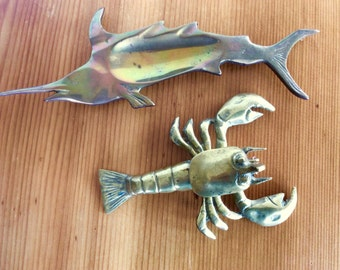 Brass Lobster, Box with Lid. Brass Swordfish / Marlin Trinket Dish or Tray. Brass Animals. Sea Creatures. Gold Decor. Secret Compartment.