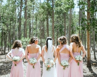 Individually Tailored SiZE & LENGTH Multiway Infinity Bridesmaid Dresses  Blush Rosewater Rose Quartz Champagne Rosegold  Convertible Dress