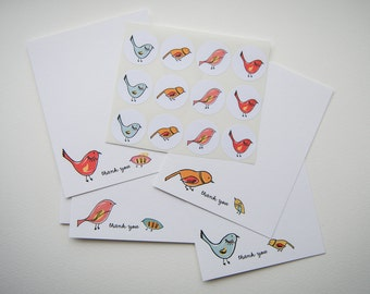 Bird Friends Personalized Stationery or Thank You Notecards with Stickers