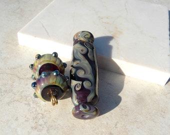 Handmade Lampwork Glass Bead set Silver glass Reactive glass Round Multi color Barrel Artisan bead Handmade bead Generationslampwork SRA