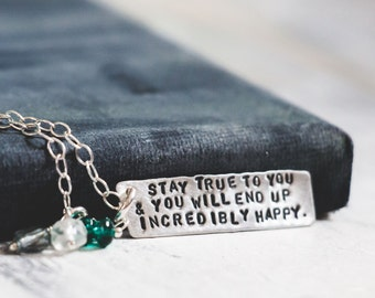 Personalized Quotation Necklace with the Quote or Words of your Choice  {Hand Stamped Sterling Silver}