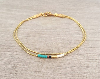 Minimalist Delicate Gold Bracelet with Turquoise, Pink or Mint Beads // Thin Beaded Bracelet // Multicolor Boho Friendship Bracelet // BR121
