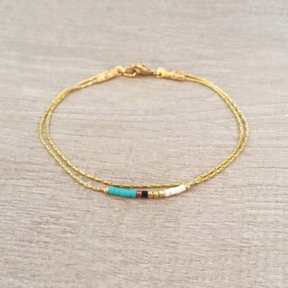 Minimalist Delicate Gold Bracelet with Turquoise, Pink or Mint Beads ...