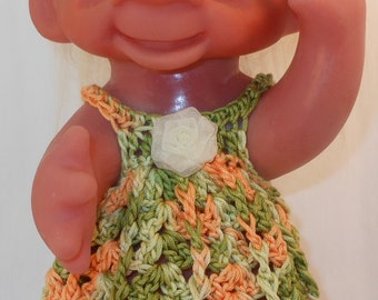 Dress in Variegated Greens and Gold -8.5  Inch TROLL OUTFIT