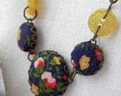 Navy and Mustard Flowers, Fabric Covered Button Necklace