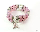 Memory Wire Bracelet ~ Bracelet with Pink Ribbon ~ Memory Wire Hope Bracelet -  B2015-09
