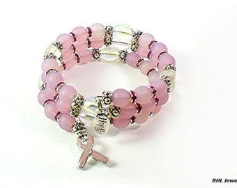 Pink Ribbon Memory Wire Bracelet, Pink Awareness Bracelet, Ribbon Charm -  B2015-09