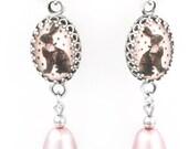 Easter Bunny Earrings, Pink Pearl Earrings, Chocolate Bunny Earrings, Easter Rabbit, Rabbit Earrings, Dangle Earrings, French Wire