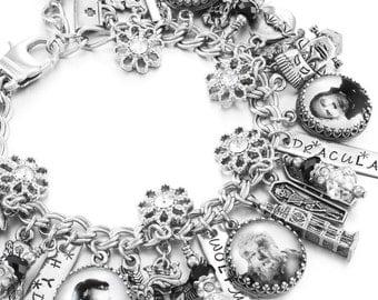 Horror Movie Bracelet, Monsters Charm Bracelet, Dracula Bracelet, Wolfman Bracelet, Frankenstein Bracelet, Mummy Bracelet, Halloween