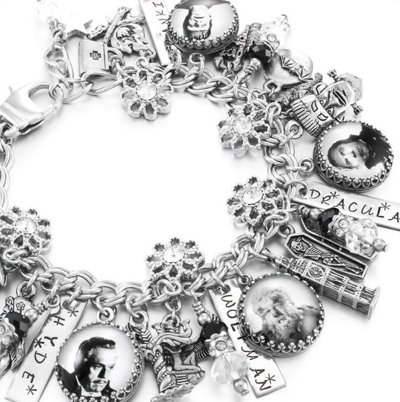Silver Charm Bracelet, Movie Monsters Jewelry, Hollywood Monsters Jewelry, Halloween Jewelry, Halloween Charm Bracelet