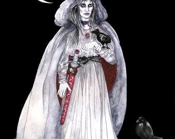 Morrigan Celtic Dark Goddess Print Three Ravens Battle Crow Pagan Fantasy Art Crone Waning Moon Altar Decor Pen Ink Watercolor Illustration
