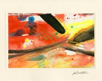 Art Abstraction 9 - Beautiful Original Hand Painted Abstract Blank Greeting Card by Kathy Morton Stanion EBSQ