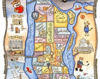 "New York City Map Manhattan Art Print 11"" x 14"""