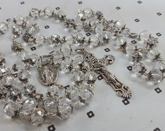 Handmade Clear Glass Catholic Rosary