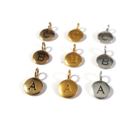 Round Initial Charms, Sterling Silver, Vermeil, and Bronze Letter Charms, Matte Gold, Silver and Bronze Alphabet Pendants for Jewelry
