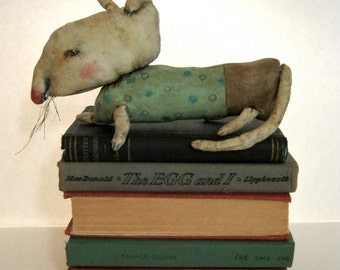 ooak rat art doll, creepy,sandy mastroni original doll, rat, bizarre, fabric sculpture, weird art doll , shelf art