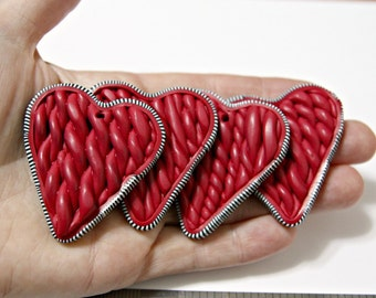 Woven Cardigan Heart Pendant Made From Polymer Clay in Red With Black and White Striped Border Valentines Gift