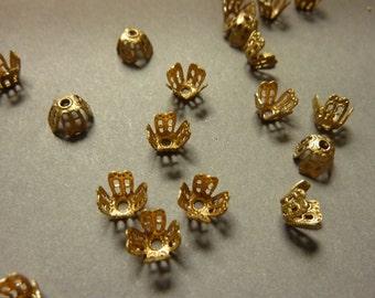 24 Filigree Brass Bead Caps - Small (24)