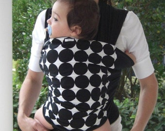 Super Lightweight-ORGANIC BAMBOO Baby Wrap Sling Carrier-Large Black Dots-DVD included