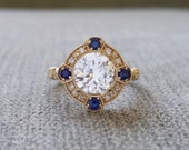 "Estate Halo White Sapphire Diamond Antique Engagement Ring Victorian Art Deco Edwardian 14K Yellow Gold ""The Charlotte"""