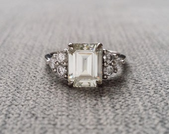 "Moissanite and Diamond Engagement Ring Emerald Cut Baguette Classic Gold timeless PenelliBelle Exclusive ""The Madison"""