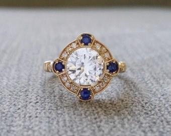"Estate Halo White Sapphire Diamond Antique Engagement Ring Victorian Art Deco Edwardian 14K Yellow Gold ""The Charlotte"""