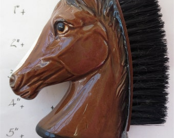 Porcelain Horse Head Brush - Clothes Brush - Vintage 60s  - Made in Japan