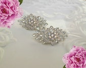 Crystal Wedding Shoe Clips, Bridal Accessories, Vintage Style,Crystal Shoe Clips, Rhinestone Flower Clips, silver shoe clips