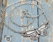 Spoon Butterfly Necklace - Inspired by Antique Victorian Silverware - Handmade Recycled Jewelry Creation By Doctorgus - Boho Style Necklace