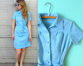 70's Leisure Dress // Blue Sky Polyester Dress in Small or Medium // Sash //