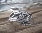 Entwined Branches Handmade Sterling Silver Diamond Engagement Ring