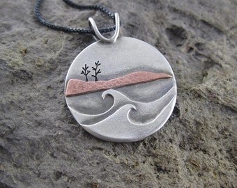 Handmade Autumn Gales Mixed Metal Copper and Silver Pendant
