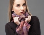 Nunofelt Multicolored scarf - Brown, Violet, White colors - Wool and Silk - Hand dyed batik