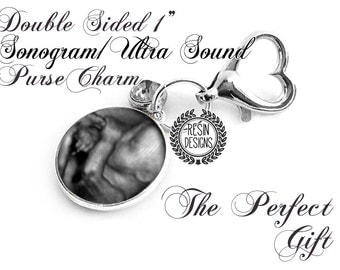 Ultrasound Purse Charm, Baby Shower Gift, New Baby, Personalized, Baby Sonogram, Key Fob, Two Sided Charm, Hang Tag, Memorial Photo Charm