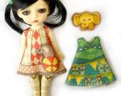 Lati Yellow Dress KIT Size 3: Doll Dress Clothing Kit Circus pattern for small dolls