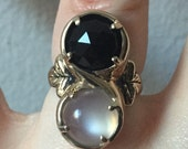 Marchesa Ring- Onyx and Moonstone in Bronze