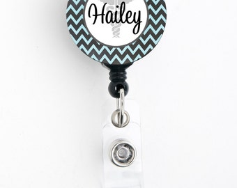 Retractable ID Badge Holder - Personalized Name - Funky Chevron Caduceus, Choice of Colors - Cute Badge Reel, Lanyard, Carabiner, Steth Tag